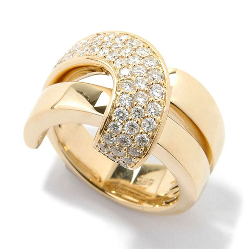 14k Gold Diamond Criss Cross Curve Ring