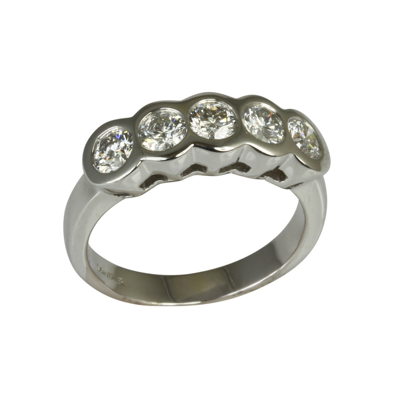 14k Gold 5 Diamond Bezel Ring