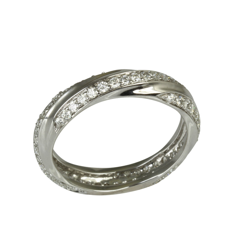 18k Gold Slim Swirl Diamond Ring