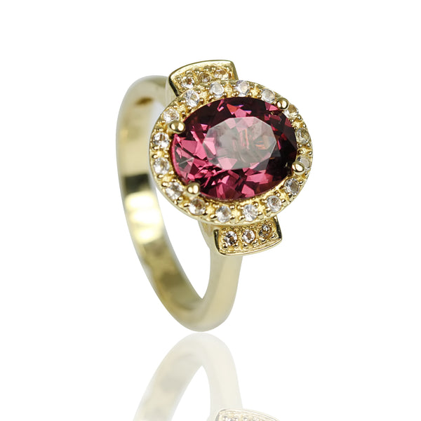 14k Gold Rhodolite & Diamond Flair Ring