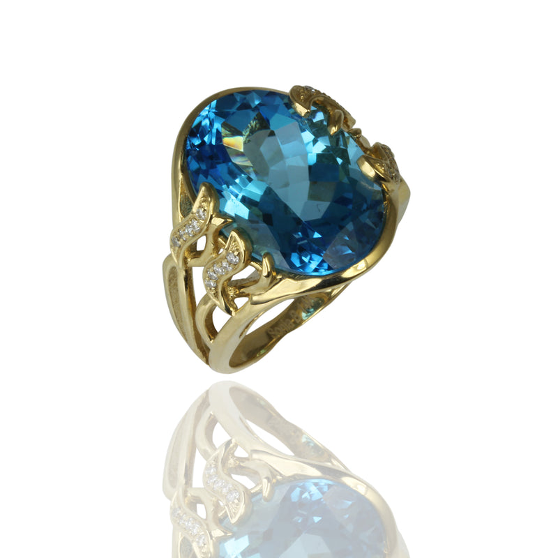 14k Gold Swiss Blue Topaz & Diamond Ring