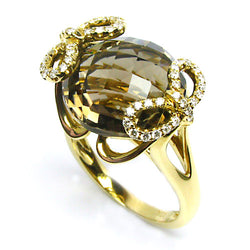 18k Gold Checkerboard Smokey Quartz & Diamond Ring