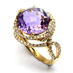 18k Gold Swirling Amethyst & Diamond Ring