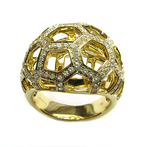 18k Gold Diamond Layered Dome Web Ring