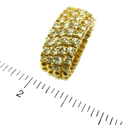 18k Gold Diamond 4 Row Flex Ring