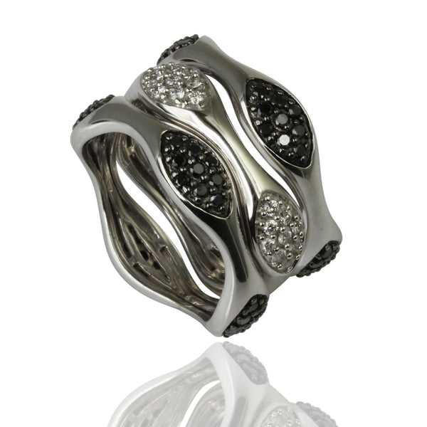 14k Gold Black & White Diamond Ring Trio