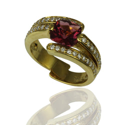 18k Gold Cushion Pink Tourmaline & Diamond Ring