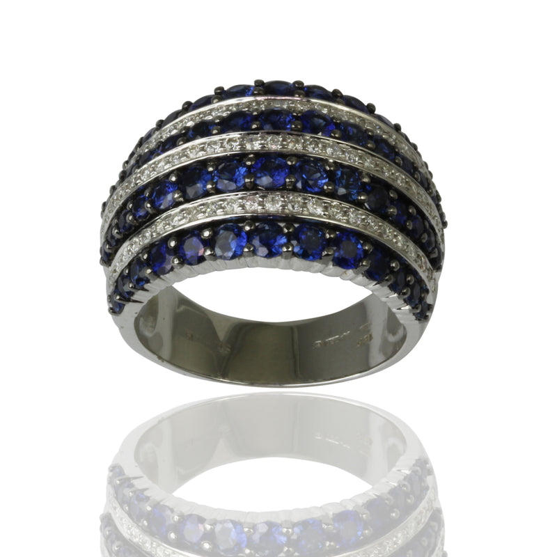 18k Gold Blue Sapphire & Diamond Band Ring