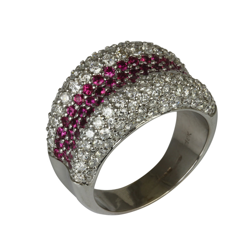 18k Gold Pink Sapphire & Diamond Double Edge Dome Ring