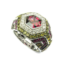 18k Gold Rhodolite, Yellow & Pink Sapphire & Diamond Ring