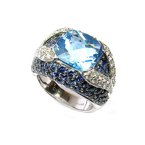 18k Gold Blue Topaz, Blue Sapphire & Diamond Ring