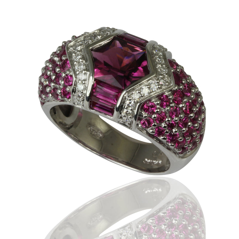 18k Gold Pink Tourmaline, Ruby & Diamond Ring