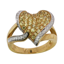 14k Gold Yellow Sapphire & Diamond Heart Ring