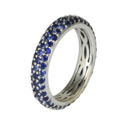 18k Gold Blue Sapphire Pave Stackable Eternity Ring