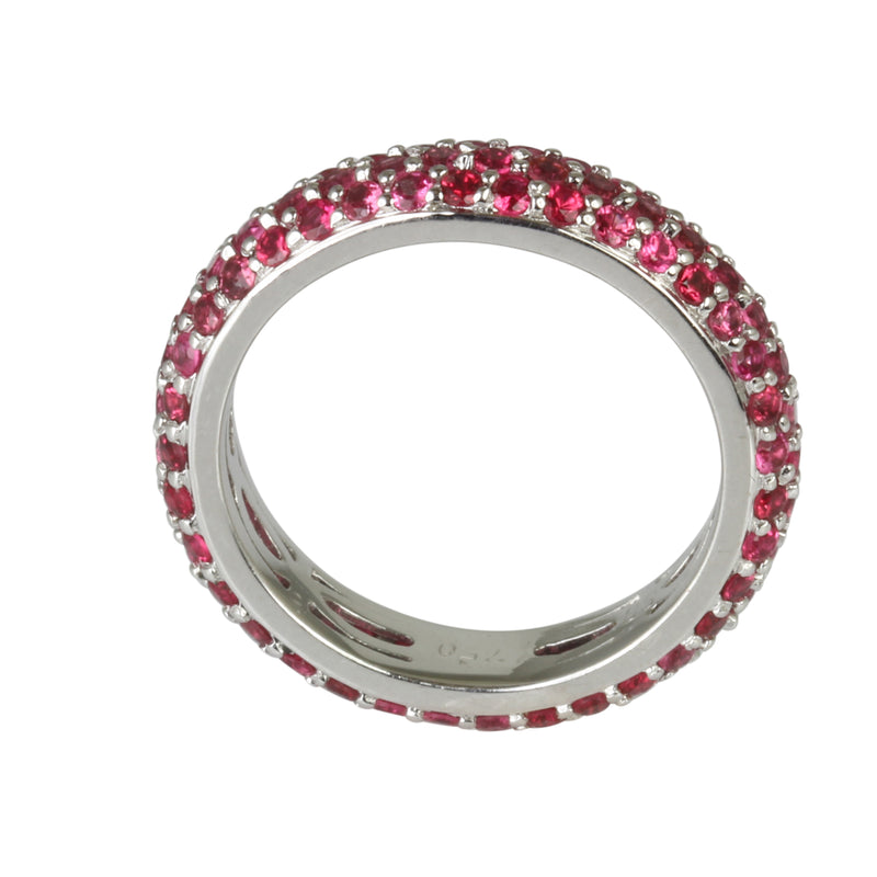 18k Gold Pink Sapphire Pave Stackable Eternity Ring