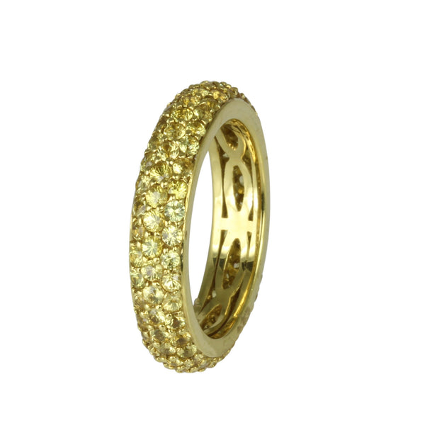 18k Gold Spessartite Pave Stackable Eternity Ring
