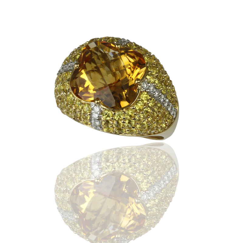 18k Gold Citrine, Yellow Sapphire & Diamond Ring