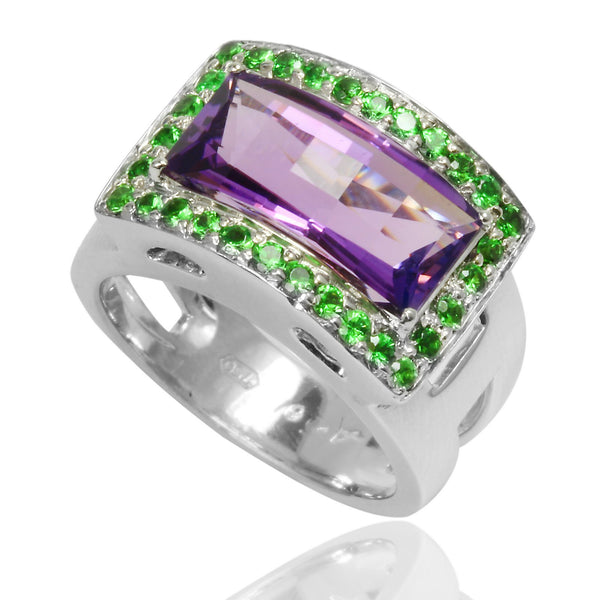 18k White Gold Amethyst & Tsavorite Ring