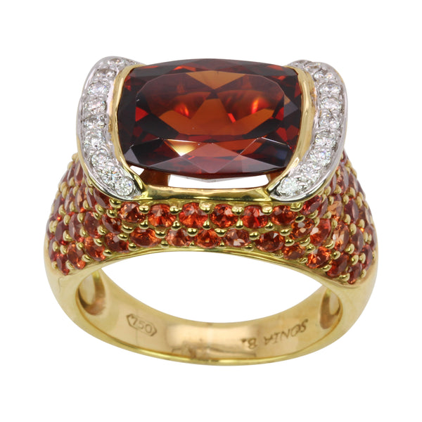 18k Yellow Gold Spessartite, Orange Sapphire & Diamond Cocktail Ring