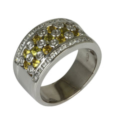 18k Gold Yellow Sapphire & Diamond Bezel Ring