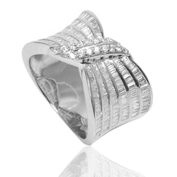 18k White Gold Baguette & Round Diamond Tied Ring