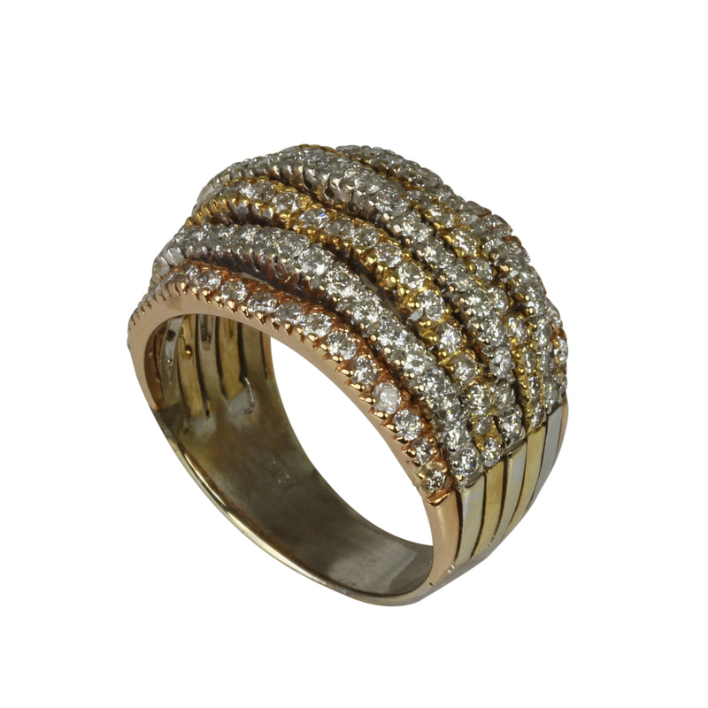 18k Gold Tri-toned Gold Diamond Dome Ring