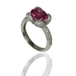 18k Gold Fancy Oval Rubellite & Diamond Ring