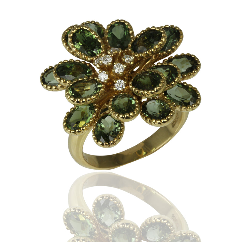 14k Gold Green Tourmaline & Diamond Flower Ring