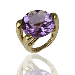 14k Gold Large Cocktail Amethyst Ring