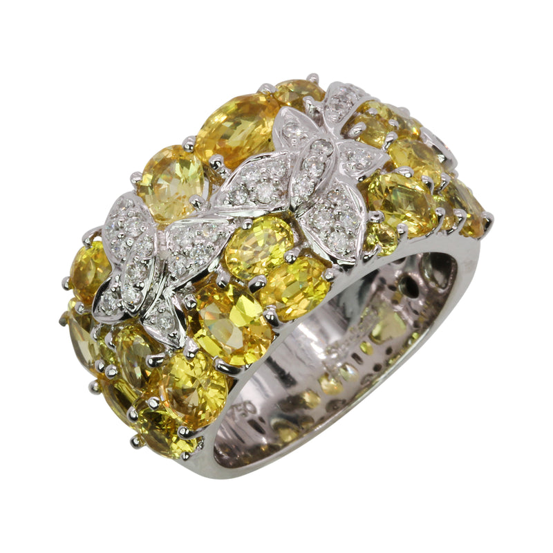 18k White Gold Yellow Sapphire & Butterfly Ring
