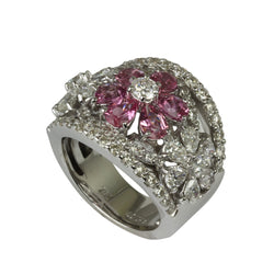 18k Gold Pink Sapphire & Diamond Flower Ring