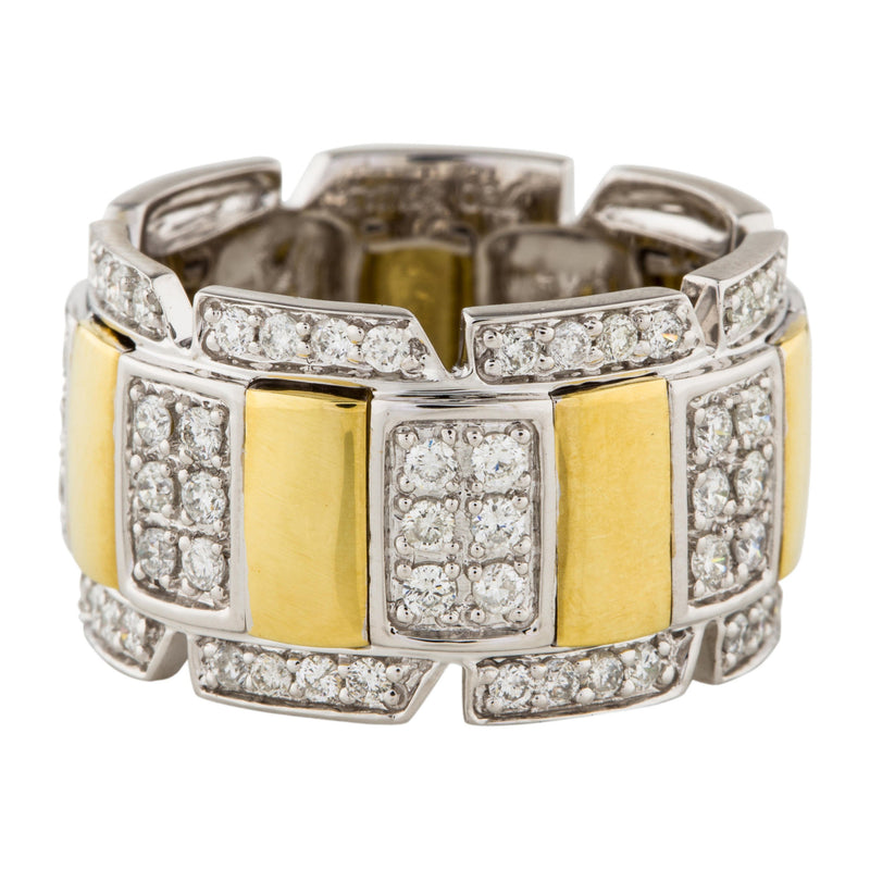 18k Two Tone Gold 1.02ct Diamond Buckle Ring