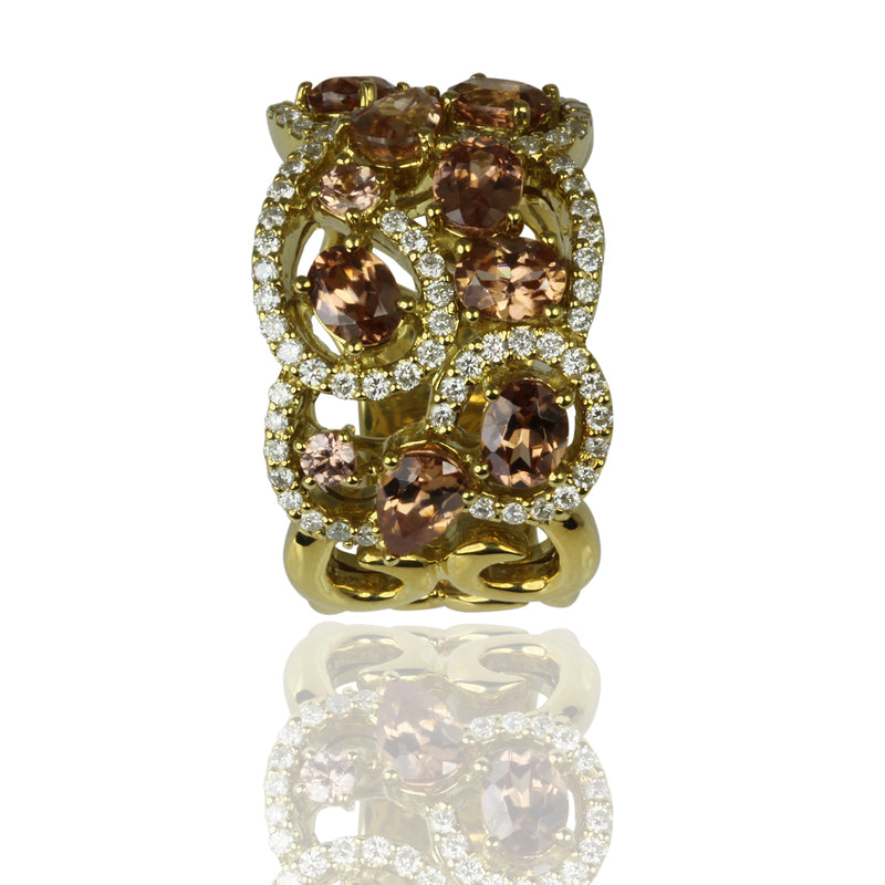 18k Gold Zircon & Diamond Lace Ring