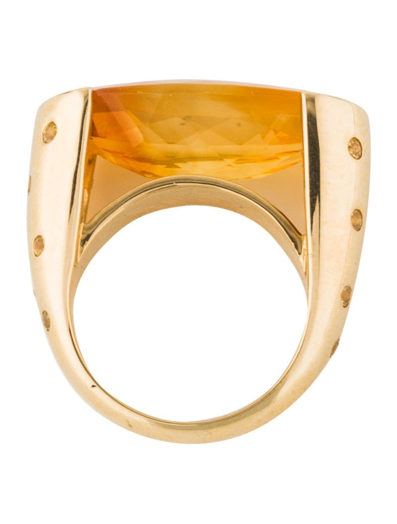 18k Gold Oval Cut Citrine & Yellow Sapphire Ring