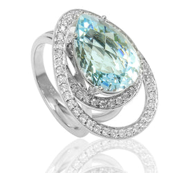 18k Gold Aquamarine & Diamond Orbit Ring