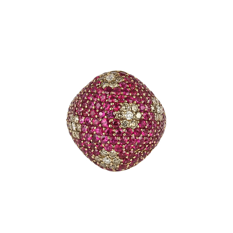 18k Gold Pink Sapphire & Diamond Speckled Flower Dome Ring