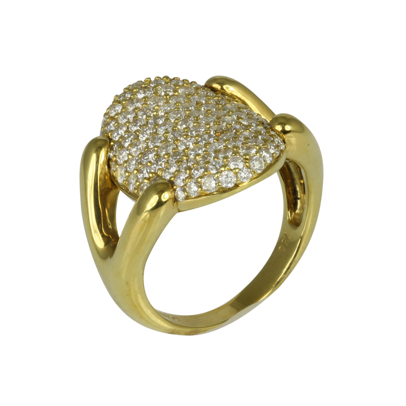 18k Gold Pave Diamond Oval Disc Claw Ring