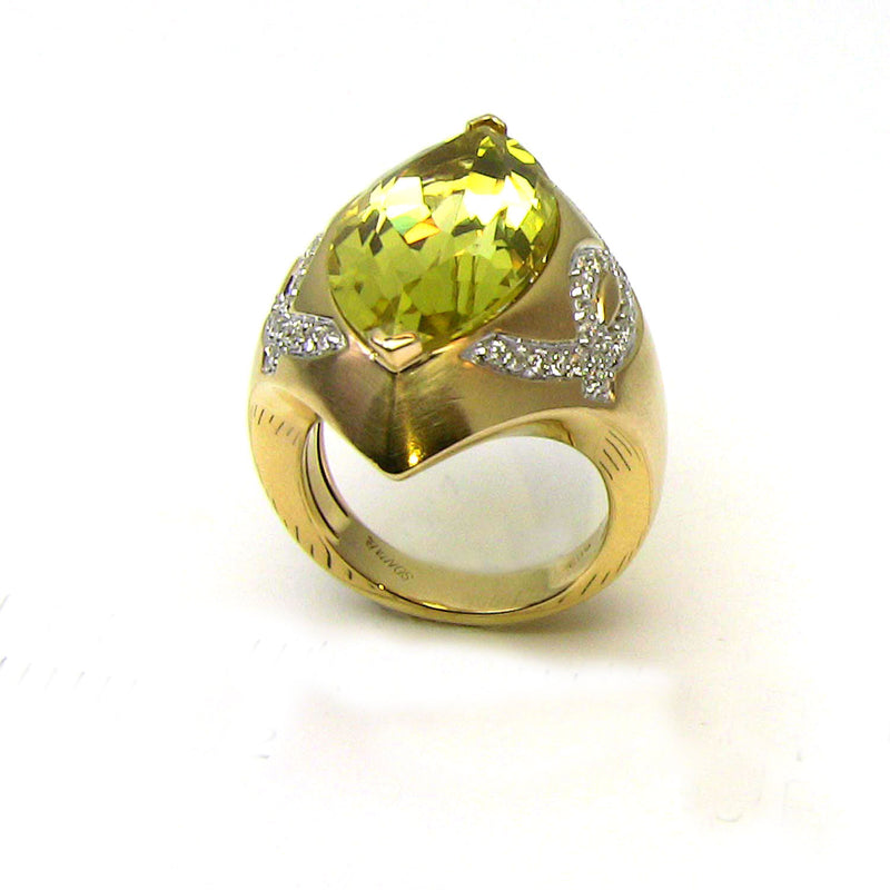 14k Gold Sharp Marquise Lemon Quartz & Diamond Ring