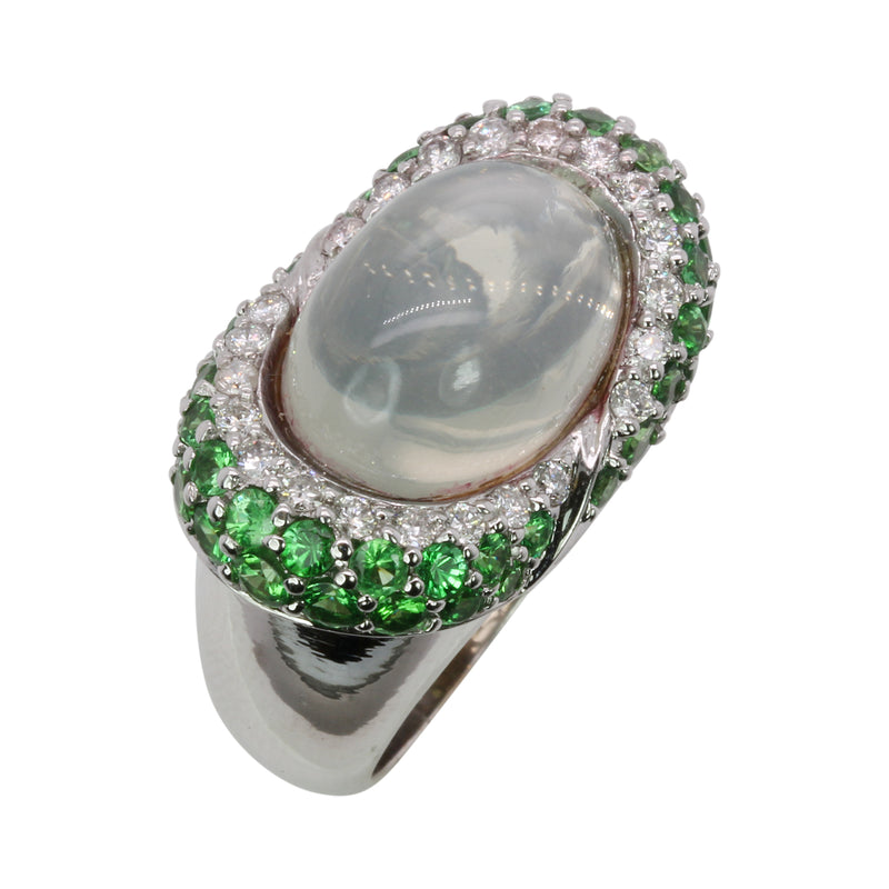 14k Gold Moonstone, Tsavorite & Diamond Ring