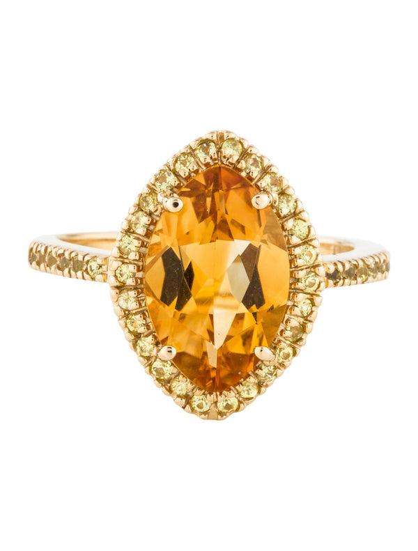 14k Gold Marquise Cut Citrine & Yellow Sapphire Ring