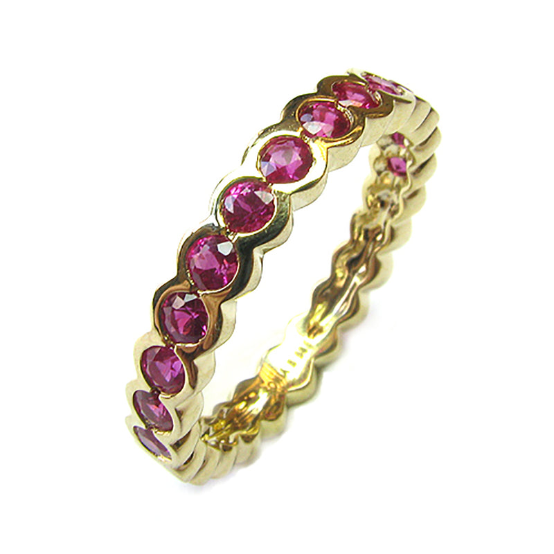 14k Gold Pink Sapphire Half Eternity Bubble Bezel Set Ring