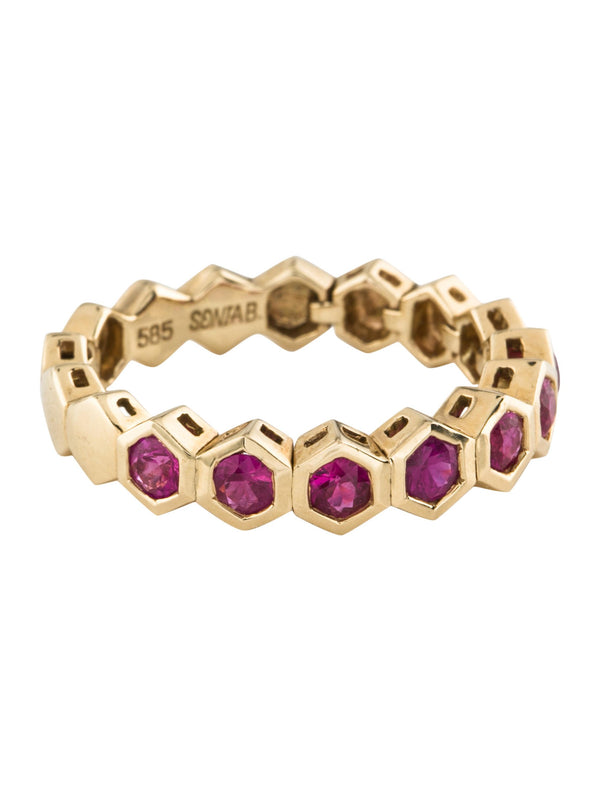 14k Gold Ruby Half Eternity Bubble Bezel Set Stackable Ring
