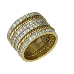 18k Gold Diamond & Rope Textured Ring