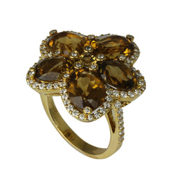 14k Gold Champagne Quartz & Diamond Flower Ring