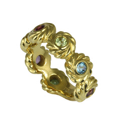 18k Gold Multi-gemstone Byzantine Ring