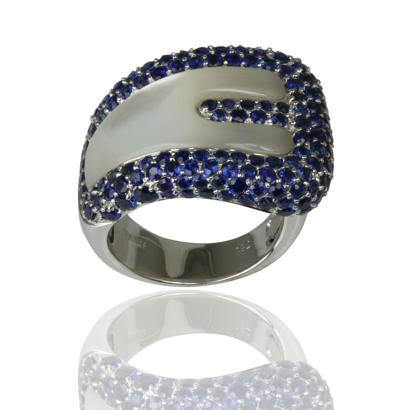 18k Gold Mother Of Pearl & Blue Sapphire Buckle Ring