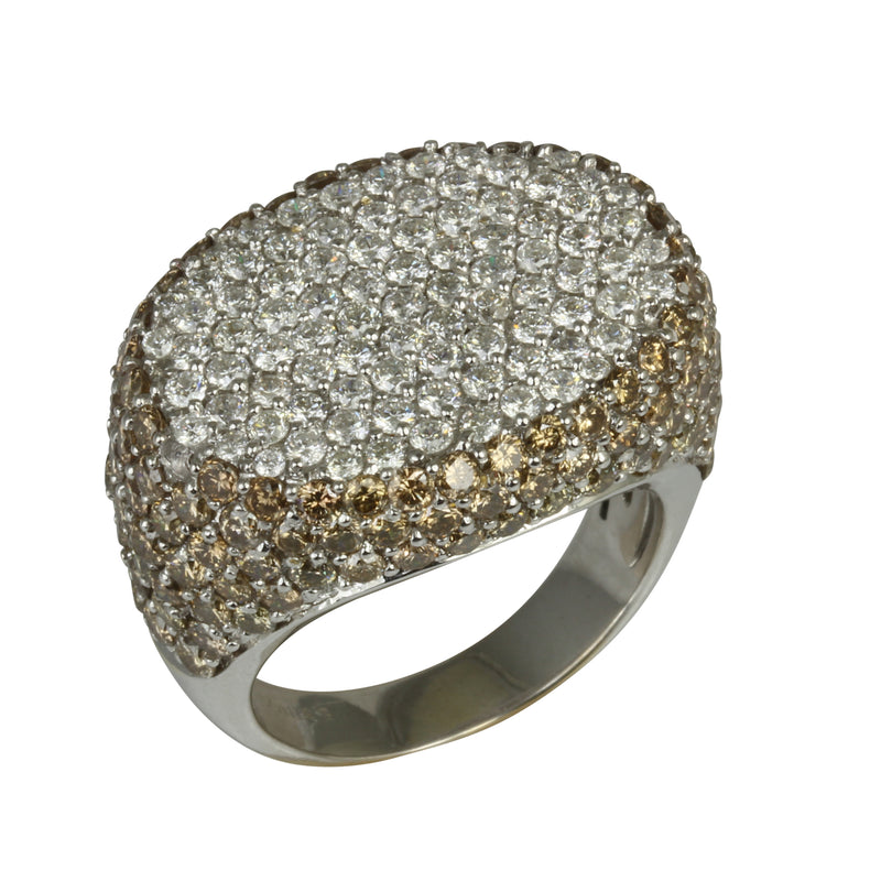 18k Gold White & Chocolate Diamond Ring