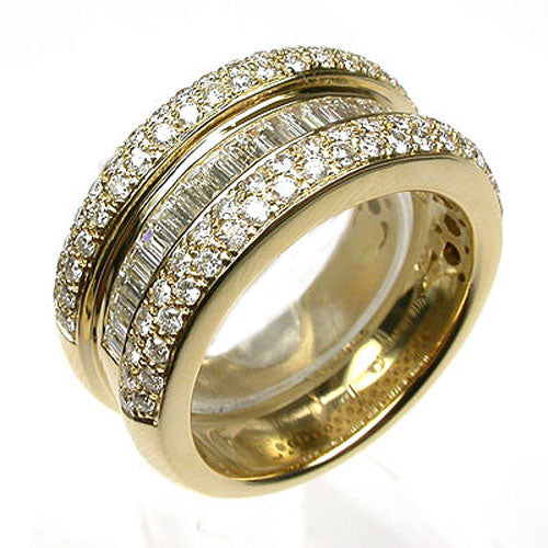 18k Gold Baguette & Round Pave Diamond Ring