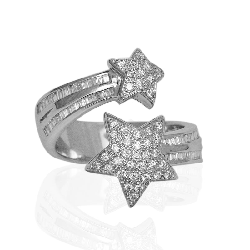 18k Gold Shooting Star Baguette & Round Diamond Ring