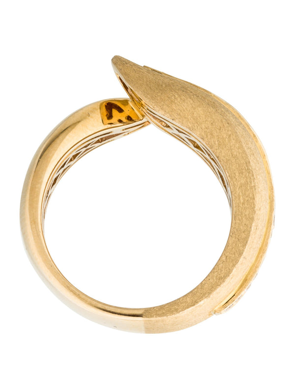 14k Gold Diamond Textured Leaf Bypass Ring